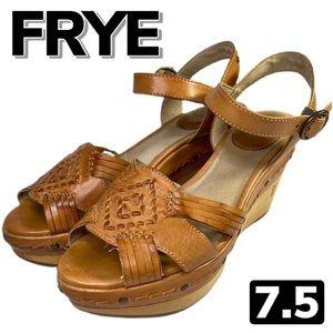 FRYE Carlie Huarache Leather & Wood Wedges (7.5)